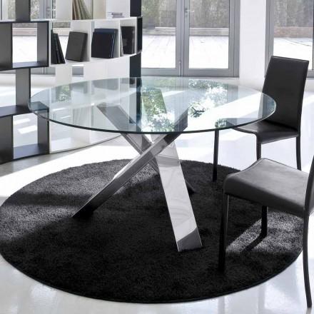 Runda designbordet d.120 glasplatta tillverkat i Italien Cristal