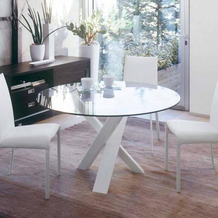 Runda designbord d.160 glasplatta tillverkad i Italien Cristal