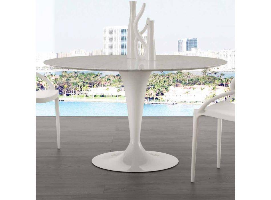 120 cm runda bord med vit Carrara marmor topp