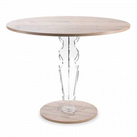 Runt träbord och genomskinligt design plexiglasben - Maritozzo