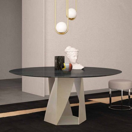 Rundt bord i havssvart marmordiameter 130 cm, tillverkad i Italien - Montedoro