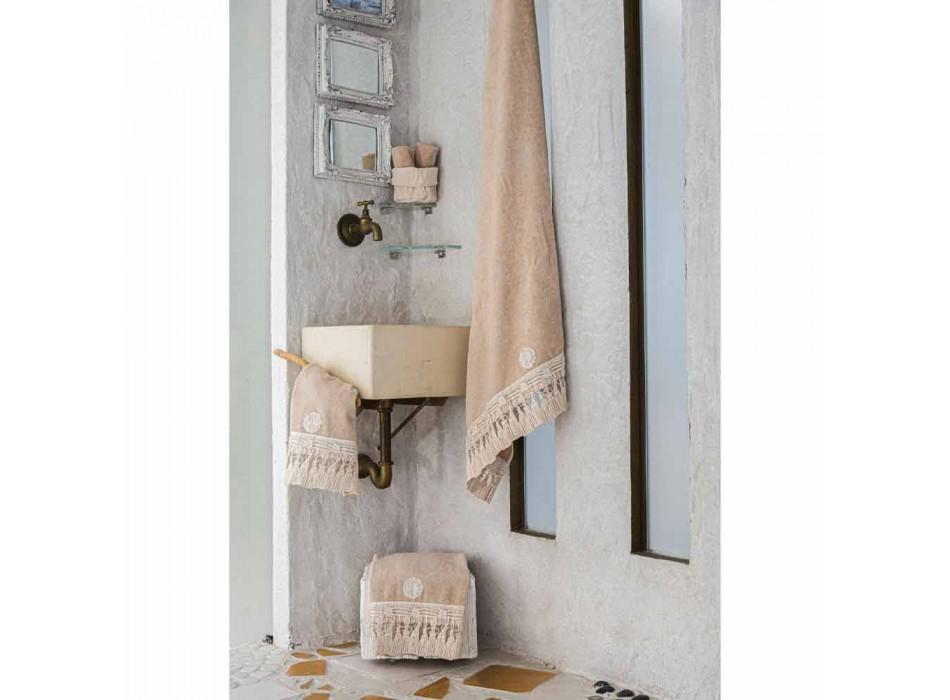 Badlakan av bomullsfrotté med italiensk lyxig tofsspets - Arafico