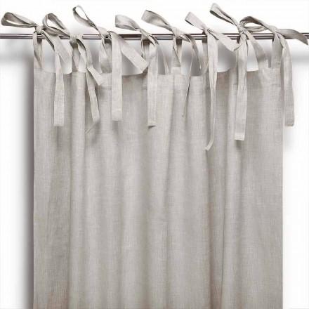 Gardin med snören i rent linne i naturlig färg Tillverkad i Italien - Daiana