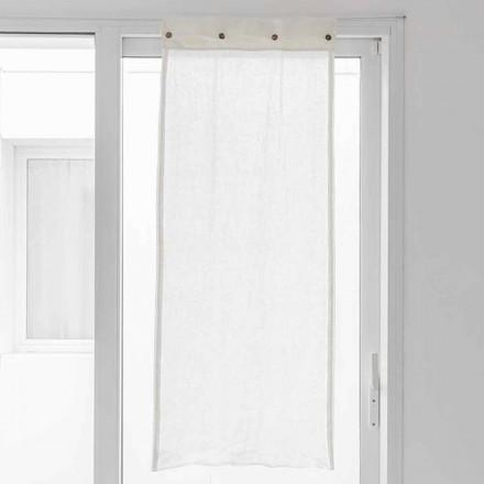 Vit gardin i lätt linne och pärlemorsknappar - Georgette