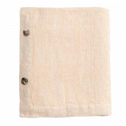 Modulär bordsduk i färgat linne med knapphål och 10 knappar - Mediterranea