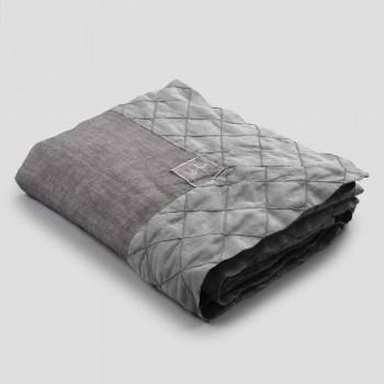 Antracit linneduk och kant med geometrisk dekor, handgjord - Dippel
