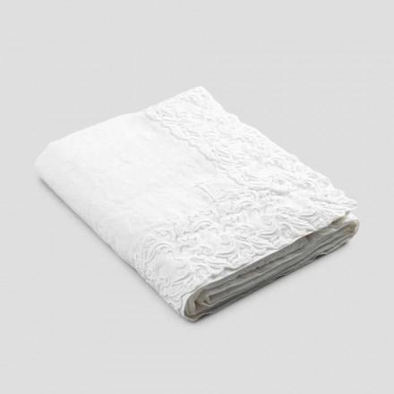Vit duk av linne eller smör med rektangulär Farnese spetsdesign - Kippel