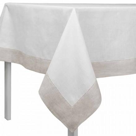 Rektangulär eller fyrkantig vit och naturlig linnedduk Tillverkad i Italien - Chiana