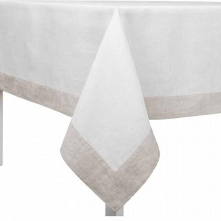 Vit och naturlig linnedduk, rektangulär eller fyrkantig tillverkad i Italien - vallmo