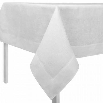 Rektangulär eller kvadratisk grädde vit linne bordsduk Tillverkad i Italien - vallmo