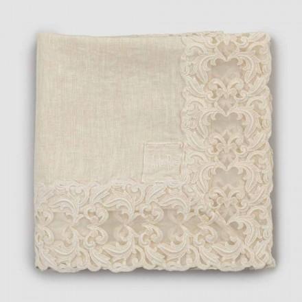 Beige linne fyrkantig duk med handgjord lyxig Farnese spets - Kippel