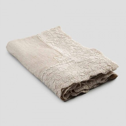 Beige linne fyrkantig duk med handgjorda lyxiga kronbladbroderier - Vippel