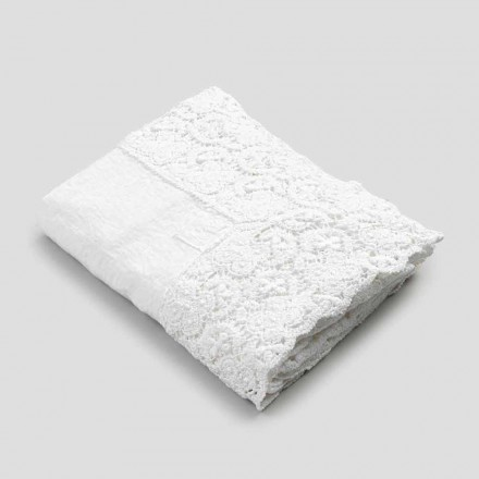 Rektangulär duk i linne och spetsbomull av lyxig design - Olimpia