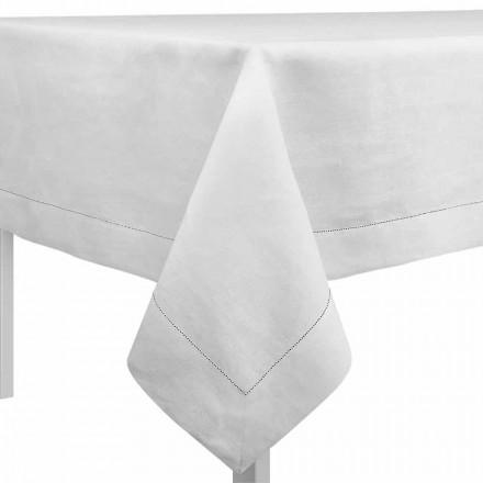Rektangulär eller fyrkantig duk i krämvitt linne tillverkat i Italien - Chiana