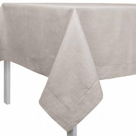 Rektangulär eller fyrkantig duk i naturligt linne tillverkat i Italien - Chiana