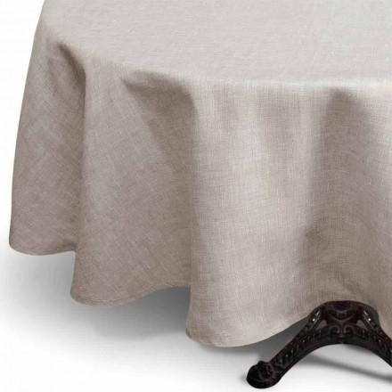Rund bordsduk av naturlig färg av rent linne Tillverkad i Italien - Blessy
