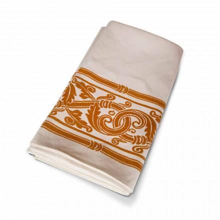 Handtryckt duk av hög italiensk hantverk i bomull och linne