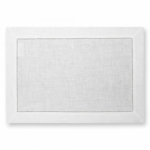 Amerikansk tallrik i ren vit eller naturlig linne tillverkad i Italien - Chiana