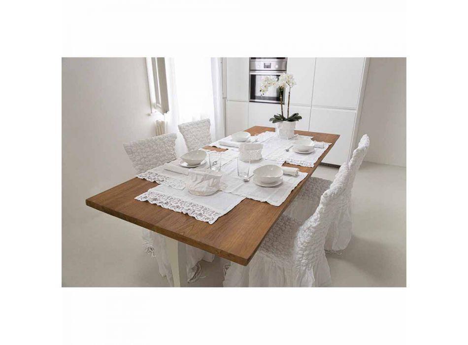 Duk i ren vit linne med ram eller spets tillverkad i Italien - Davincino