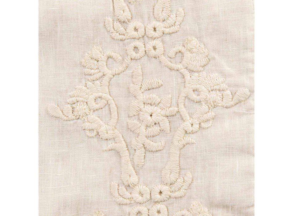 Amerikanska frukostplattformar i linne med arabesk broderi 2 stycken - Bipellino