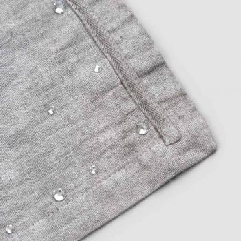 Amerikanska frukostplattformar i grått linne med kristaller 2 delar - Macanno