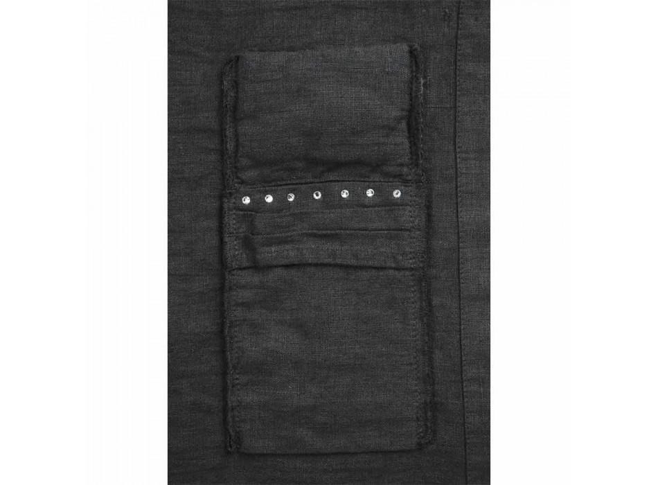 Amerikanska tallrikar och bestickbrickor med kristaller i svart linne, 4 stycken - Nabuko