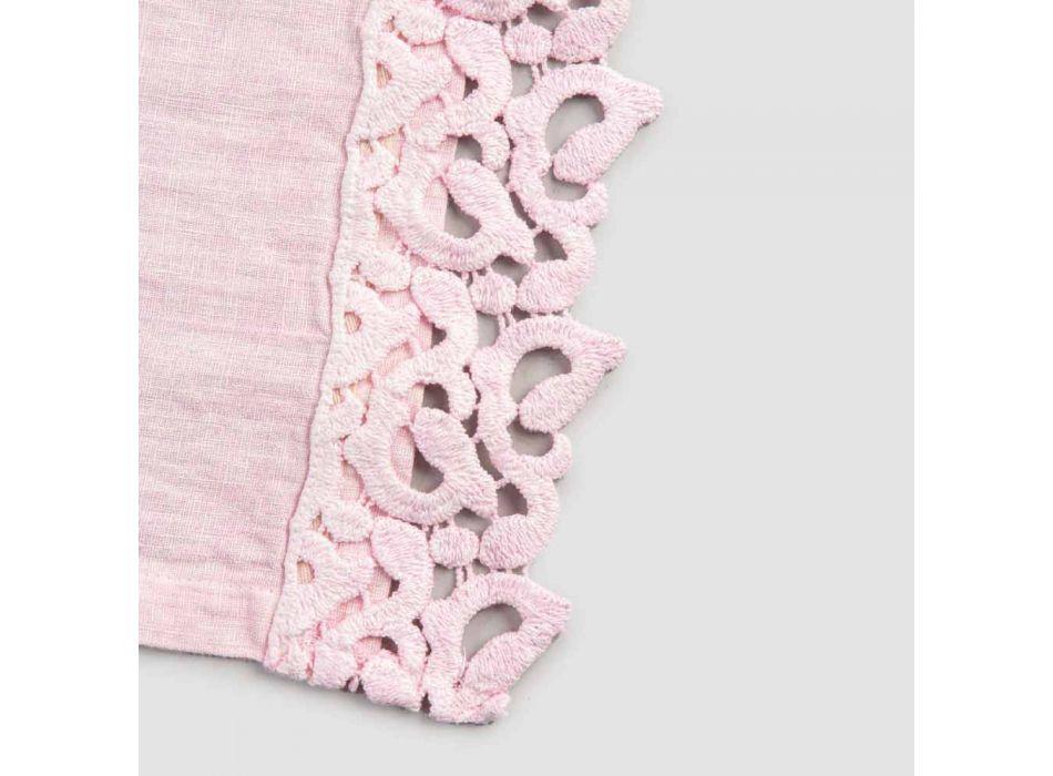 Amerikanska placemats i linne med poema-spets, 3 färger 2 delar - Leonardino