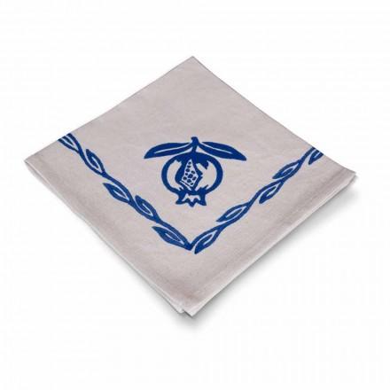 Servett i blandat linne med handtryckt tillverkat i Italien, 6 stycken