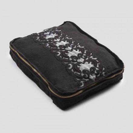 Stor byxa i linne och bomull med Farnese spets och dragkedja, 2 ytor - Mike