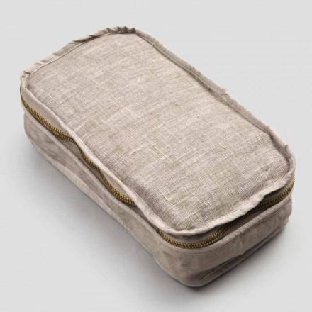Kosmetisk väska Kvinna i krita i linne och bomull eller rygg med dragkedja - Rippel