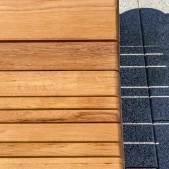 Varaschin Barcode solstolare med utomhushjul i teak trä