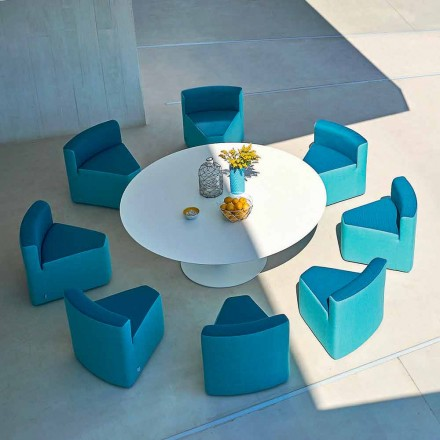 Varaschin Big In & Out trädgårdsbord + 8 moderna designfåtöljer