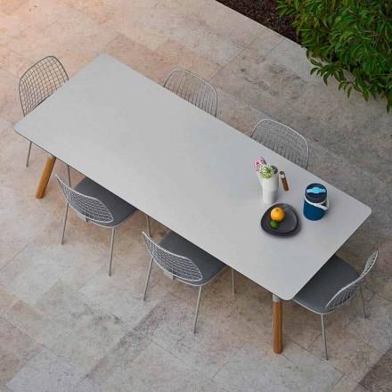 Varaschin Link trädgård förlängning bord med teak ben, H75 cm