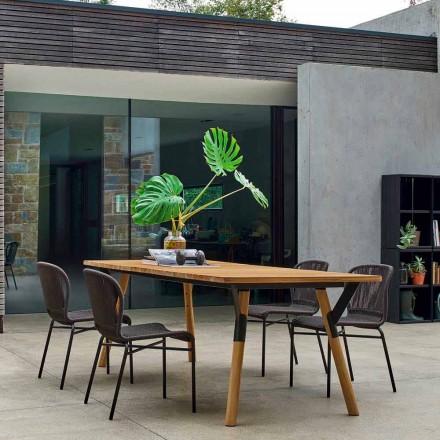 Varaschin Link trädgård bord med teak ben, H 65 cm