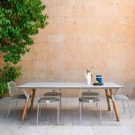 Varaschin Link trädgård bord med teak ben, H 75 cm