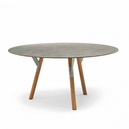 Varaschin länk Runda utomhus bord med teak ben, H 65cm