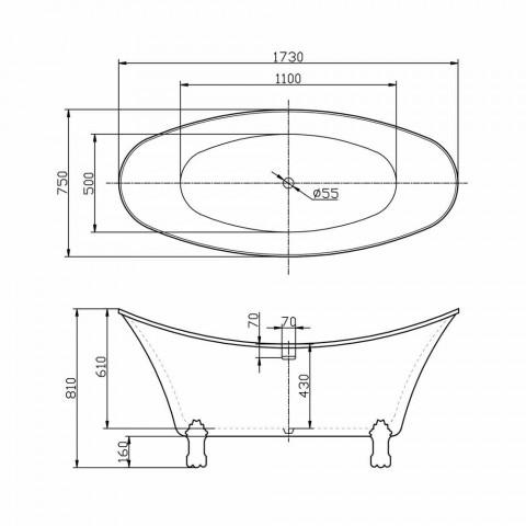 Bath vit fristående modern design 173x75cm Katie