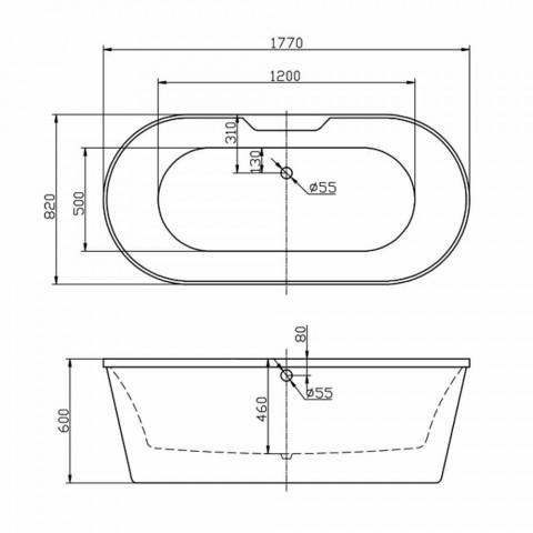 Bath vit fristående akryl 1770x820 mm i juni, modern design