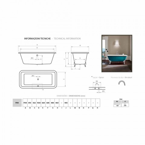 Bath konstruktion fristående gjutjärn dekorativa stift Wanda