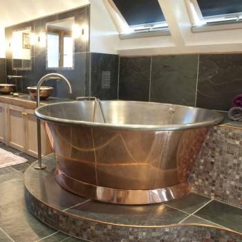 Bath runt fristående koppar pläterat järn bianco Vanessa