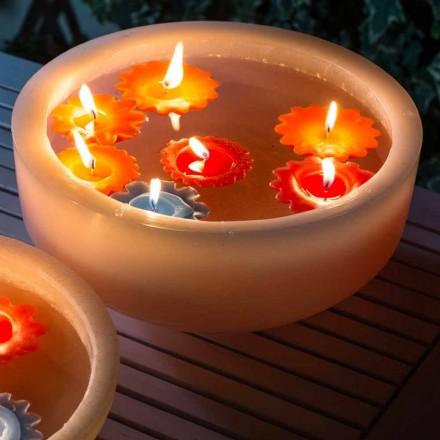 Runt vaxbadkar med färgade flytande ljus tillverkade i Italien - Utina