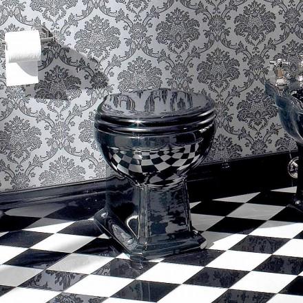 Wc Classic Floor Vase i svart keramik med säte, tillverkad i Italien - Marwa