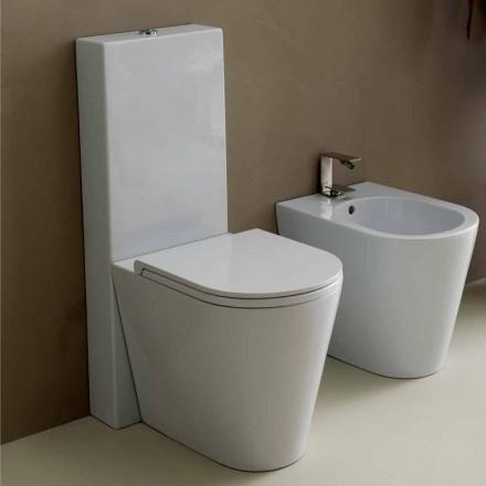 Vas toalett i moderna vit keramik Sun Runda 57x37 cm Made in Italy