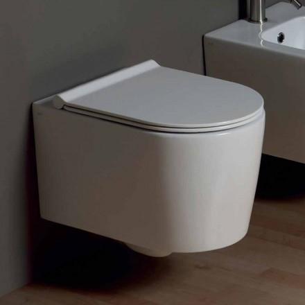 Pot hängde toalett i modern design Shine Square keramik, tillverkad i Italien