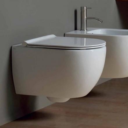 Vägghängd toalett i modern design keramiska Star 50x35 Made in Italy
