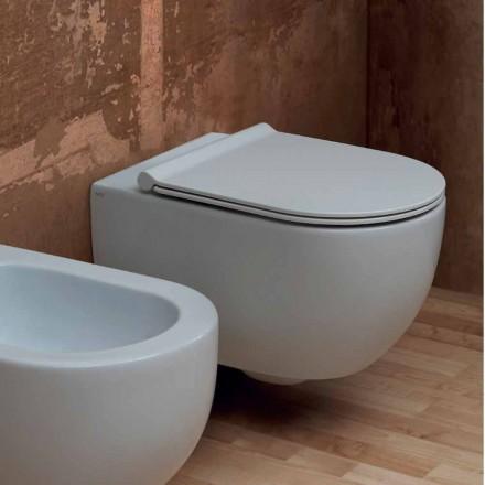 Vägghängd toalett i modern design keramiska Star 55x35 Made in Italy