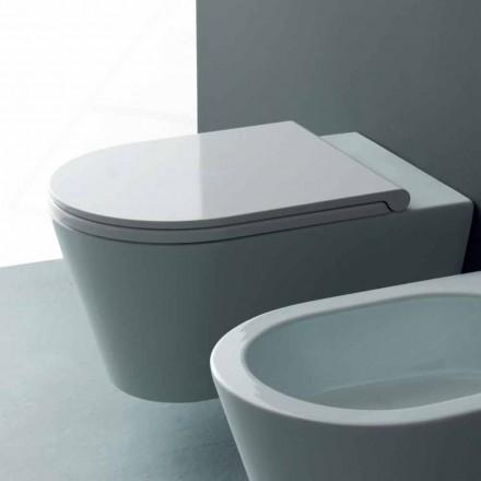 Pot hängde toalett i en modern Sun Round 57x37 cm keramik, tillverkad i Italien