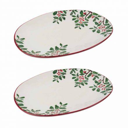 Julbricka eller oval serveringsplatta i porslin 2 delar - Pungitopo