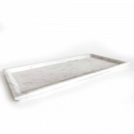 Rektangulärt bricka i polerad vit Carrara-marmor Tillverkad i Italien - Alga