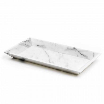 Rektangulär bricka i vit Carrara-marmor tillverkad i Italien - Vassili